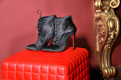 Women`s ankle boots handmade. Imitation brand shoes Royalty Free Stock Image