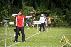 Women's Archery Action Stock Photo