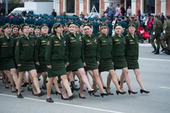 Women`s Armed Forces of Russia. Yoshkar-Ola, Russia - May 4, 2017 Women`s Armed Forces of Russia, during the march in the military parade Stock Image