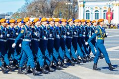 Women`s army, rehearsal parade in St. Petersburg, 2018 may Russia royalty free stock image