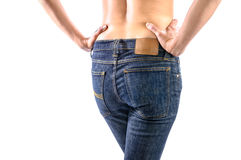 Women's in tight jeans stock photo