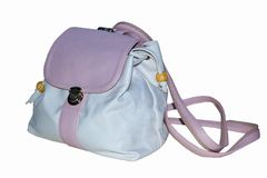 Women`s backpack in soft pink color with straps and lockable lid royalty free stock images