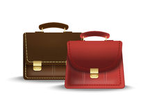 Women's bag and briefcase. Briefcase and female red bag genuine leather on a white background Royalty Free Stock Image