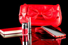 Women's bag with contents. phone and notebook Stock Image