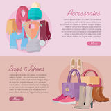 Women s bag, shoes and accessories. New collection Stock Photos