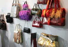 Women`s bags in shop Royalty Free Stock Photography