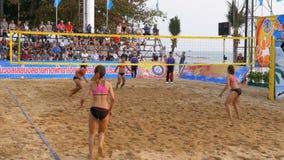 Women`s Beach Volleyball Championship in Thailand. Slow Motion. PATTAYA, THAILAND, FEBRUARY 4, 2018: Women`s Beach Volleyball Championship in Thailand. Slow stock video
