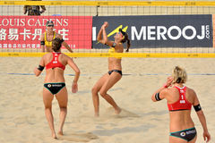 Women's beach volleyball. A women's FIVB World Tour game in progress, Beach volleyball is a game which has achieved worldwide popularity. Photo taken October 27 Stock Photo