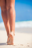 Women's beautiful smooth legs on white sand beach Royalty Free Stock Photography