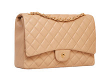Women's beige leather handbag Stock Image