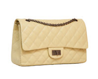 Women's beige leather handbag Stock Photos