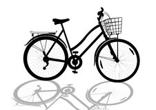Women's bike. Isolated black women's bicycle with basket silhouette stock illustration