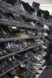 Women`s Black Colored Pumps, Shoes, Sandals, Boots, Thrift Store Shelves stock photography
