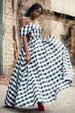 Women's Black and Gray Plaid Cold-shoulder Dress Royalty Free Stock Image