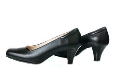 Women's black high heel shoes isolated Royalty Free Stock Photography