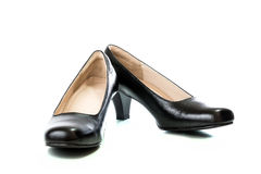 Women's black high heel shoes isolated Royalty Free Stock Images