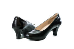 Women's black high heel shoes isolated Royalty Free Stock Image