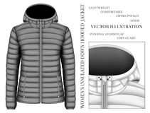 Women`s black hooded insulated down jacket. Vector illustration Stock Photo