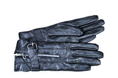 Women's black leather gloves on a white. Background Royalty Free Stock Photos
