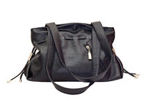 Women's black leather handbag Royalty Free Stock Photography