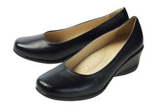 Women's Black Leather Shoes Stock Image