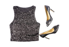 Women's Black Sequence Tank Top and Stilettos Shoes Isolated on White Stock Photo