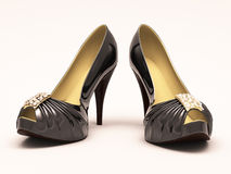 Women's black shoes closeup Royalty Free Stock Photography