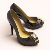 Women's black shoes closeup Stock Photos
