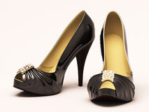 Women's black shoes closeup Stock Images