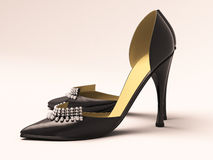 Women's black shoes. Closeup on a light background Stock Images