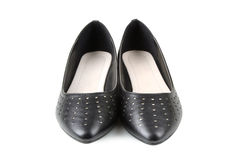 Women's black shoes. On white background stock images