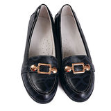 Women's black shoes  on white Royalty Free Stock Photography