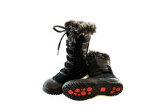 Women's black snow boots Royalty Free Stock Image