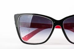 Women's black sunglasses. Modern women`s black sunglasses isolated on white background Royalty Free Stock Images