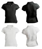 Women's Blank Black and White Polo Shirt Template Royalty Free Stock Images