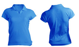 Women's Blank Blue Polo Shirt Template. Women's Blank Blue Polo Shirt, Front and Back Design Template Royalty Free Stock Photo