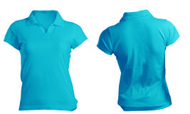 Women's Blank Blue Polo Shirt Template. Women's Blank Blue Polo Shirt, Front and Back Design Template Stock Images