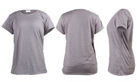 Women`s blank grey t-shirt, front, back and side vie template stock photography