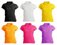 Women's Blank Polo Shirt Template. Women's Blank Polo Shirt, Front Design Template in Many Color Royalty Free Stock Photo