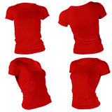 Women's blank red t-shirt template. Women's blank red t-shirt, front and back design template Stock Photo