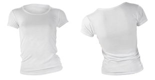 Women's blank white t-shirt template. Women's blank white t-shirt, front and back design template Stock Photos