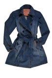 Women`s blue denim jacket, isolate on a white. female denim coat Stock Image