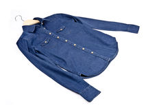 Women's Blue Denim Shirt #1 Royalty Free Stock Photos