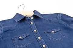 Women's Blue Denim Shirt #3 Stock Images