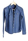 Women's Blue Denim Shirt #4 Royalty Free Stock Images