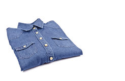 Women's Blue Denim Shirt Folded Stock Photos