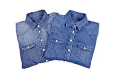 Women's Blue Denim Shirts #1 Royalty Free Stock Photos