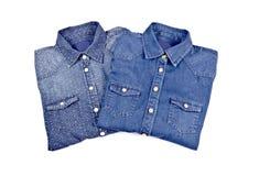 Women's Blue Denim Shirts #1 Royalty Free Stock Photos