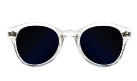 Women's blue sunglasses. Modern womens blue sunglasses isolated on white background Royalty Free Stock Images