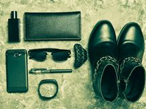 Women's boots, accessories, gadgets for a business lady layout stock image